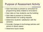 purpose of assessment activity