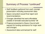 summary of process continued