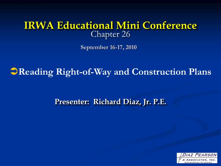 irwa educational mini conference chapter 26 n.