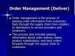 order management deliver