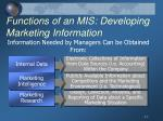 functions of an mis developing marketing information