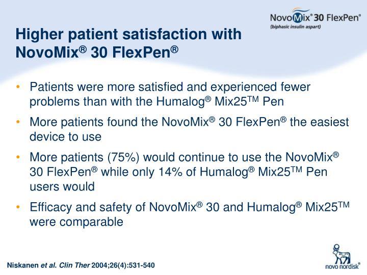 Higher patient satisfaction with NovoMix