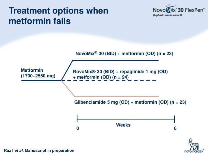 Treatment options when metformin fails