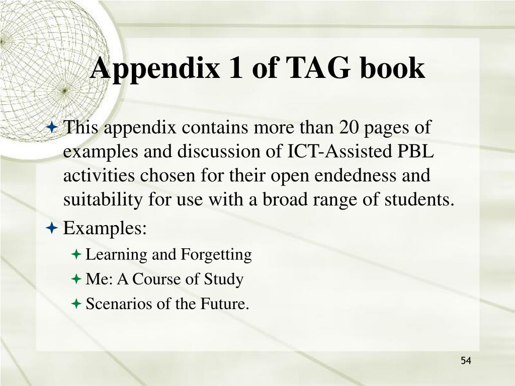 Appendix 1 of TAG book