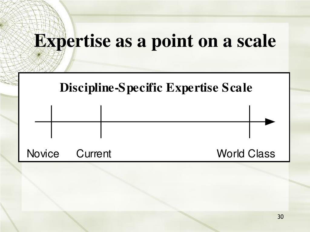 Expertise as a point on a scale