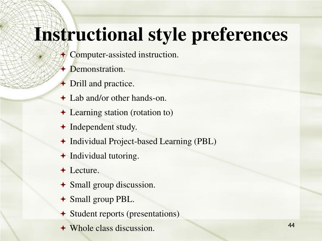 Instructional style preferences