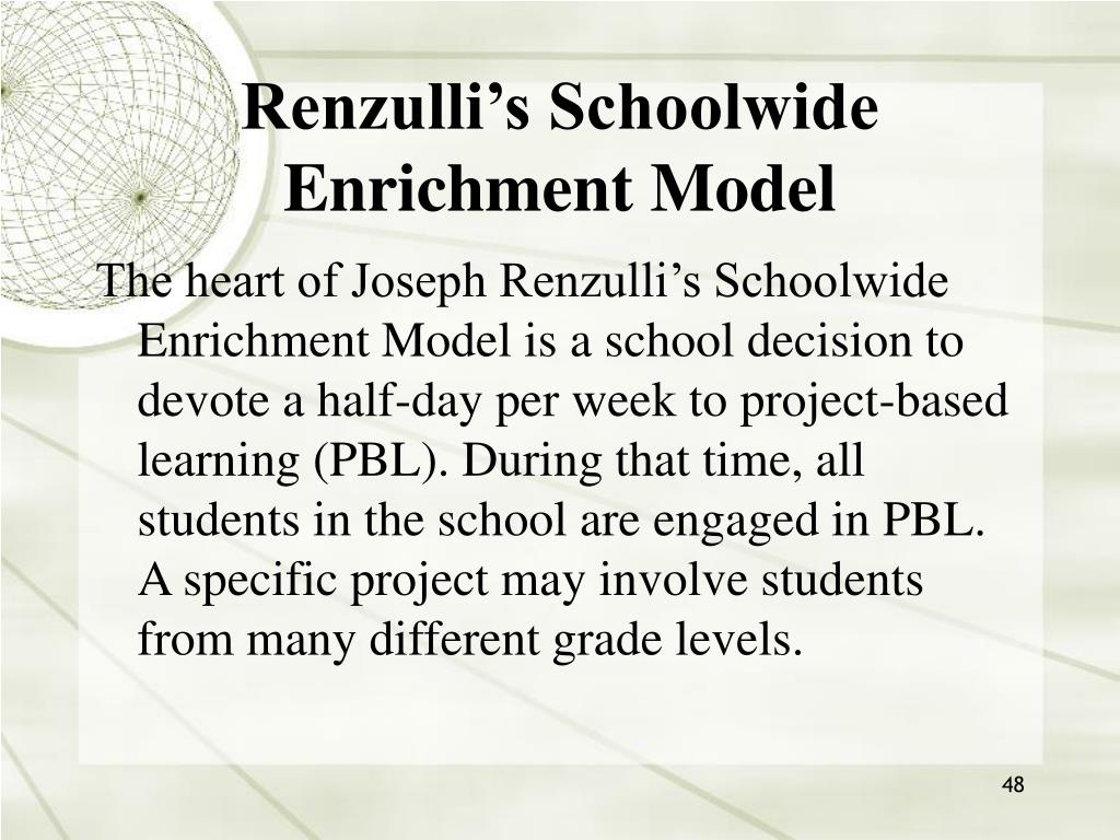 Renzulli's Schoolwide Enrichment Model