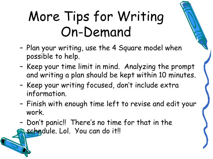 writing on demand prompts You get better at any skill through practice, and creative writing prompts are a great way to practice writing.