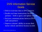 dvs information service goals