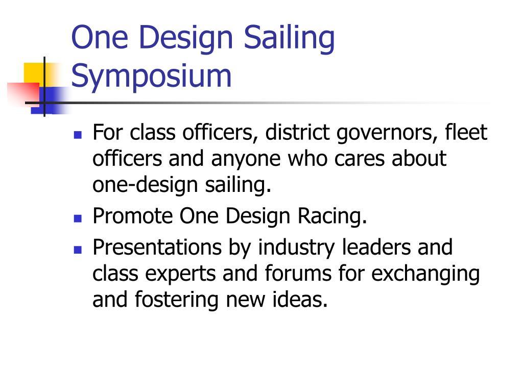 One Design Sailing Symposium