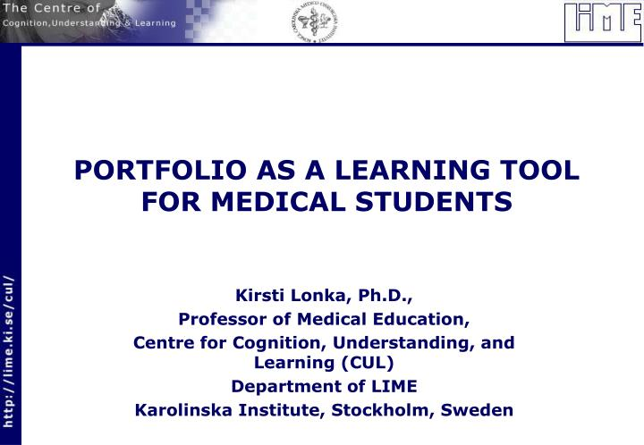 portfolio as a learning tool for medical students n.
