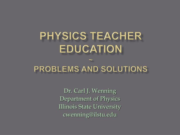 physics teacher education problems and solutions n.