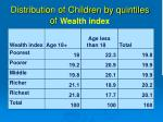distribution of children by quintiles of wealth index