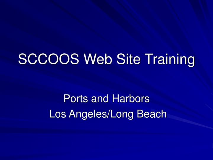 sccoos web site training n.