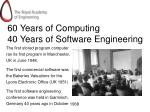 60 years of computing 40 years of software engineering