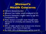 missouri s health concerns