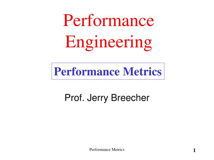 performance engineering n.