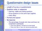 questionnaire design issues
