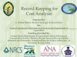 record keeping for cost analysis