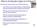 what is the broader impact of a proposal