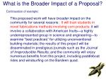 what is the broader impact of a proposal19