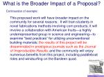 what is the broader impact of a proposal21