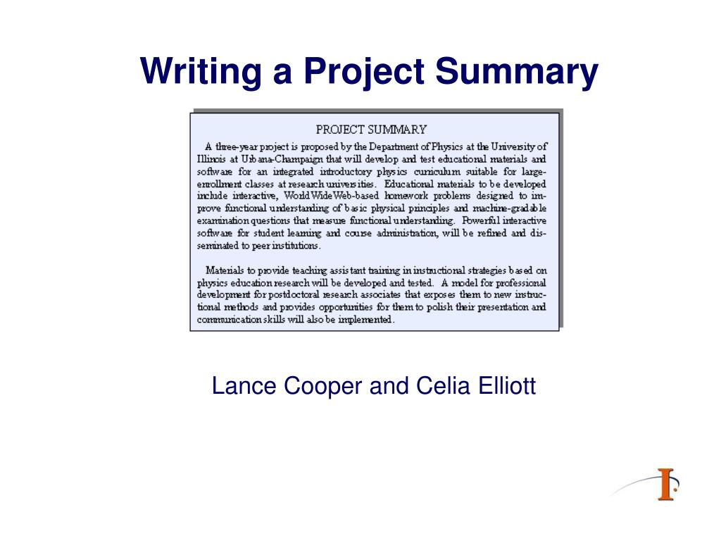 writing a project summary l.