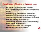 customer choice issues cont