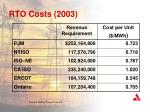 rto costs 2003