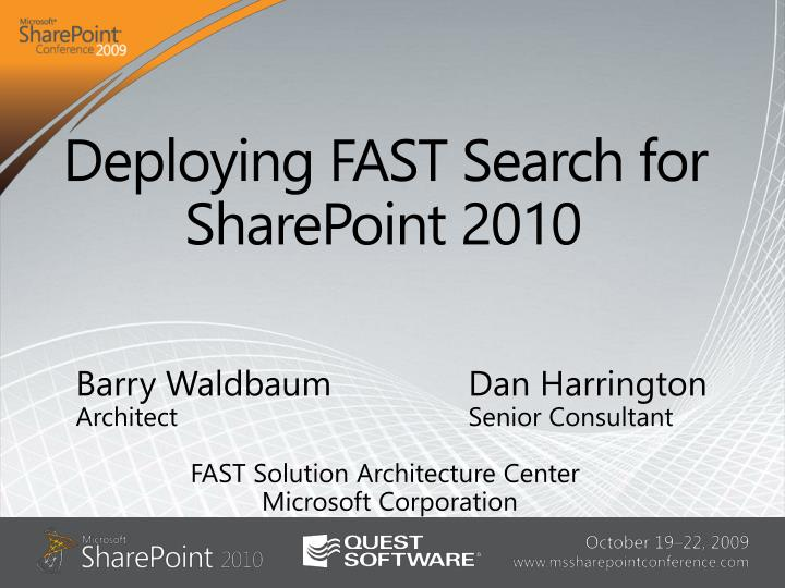deploying fast search for sharepoint 2010 n.