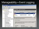 manageability event logging