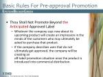 basic rules for pre approval promotion