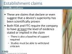 establishment claims