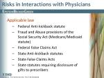 risks in interactions with physicians
