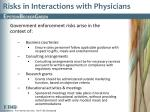 risks in interactions with physicians1
