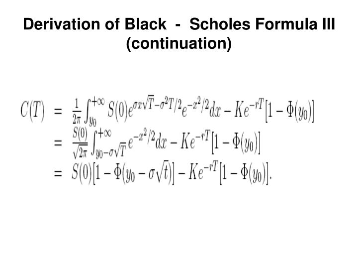 derivation and application of the black scholes On derivations of black-scholes greek letters derivations of greek letters for black-scholes call and put options with some calculation examples conclusions.