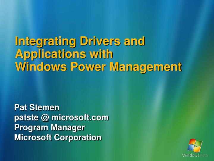 integrating drivers and applications with windows power management n.