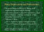 sleep deprivation and performance