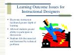 learning outcome issues for instructional designers