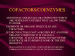 cofactors coenzymes