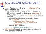 creating xml output cont