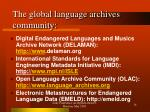 the global language archives community