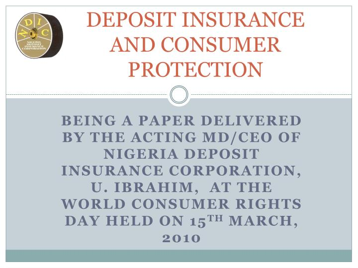 deposit insurance and consumer protection n.