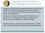 efforts of the ndic at consumer protection cont d