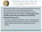 efforts of the ndic at consumer protection