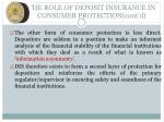 the role of deposit insurance in consumer protection cont d