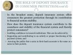 the role of deposit insurance in consumer protection cont d1