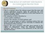 the role of deposit insurance in consumer protection1