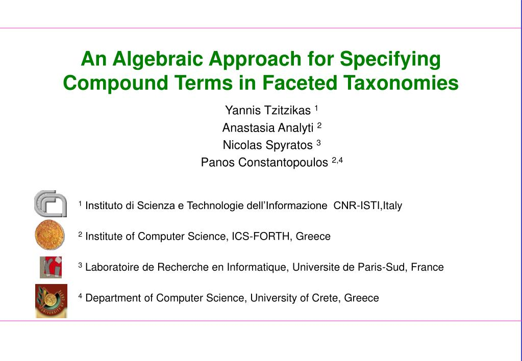 an algebraic approach for specifying compound terms in faceted taxonomies l.