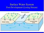 surface water system post development losing stream